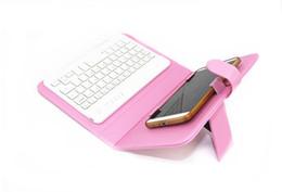 teclados para telefones celulares Desconto Teclados de telefone celular universal teclado sem fio bluetooth pu couro estojo protetor para iphone samsung huawei lg 4.5