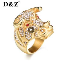 Deutschland DZ Animal Bull Head Ring Männer Gold Farbe 316L Edelstahl Micro Pave Strass Hip Hop Ringe für Herren Schmuck Rapper Rock cheap steel d rings Versorgung