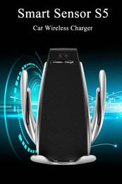 supporto auto senza fili del caricabatterie Sconti Caricabatteria da auto 10W S5 Automatic Clamping Supporto da ricarica veloce per auto in auto per iPhone Huawei Samsung Smart Phone