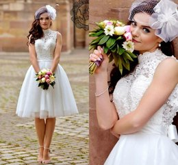 a77ad41d807 2019 Vintage Short Beach Wedding Dresses Lace High Neck Sleeveless Sexy  Backless Casual Knee Length Garden Bridal Gowns Cheap