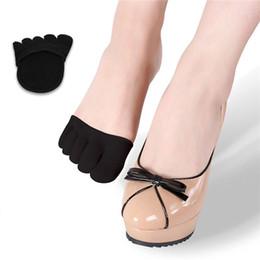 2019 open toe meias mulheres VENDA mulheres meias almofada do pé Forro de Gel aberto Toe Heelless Liner meias de algodão com Invisible Forefoot Almofada Foot pad meias 10 pares / 20 pcs open toe meias mulheres barato