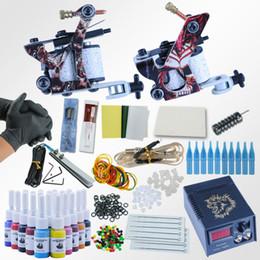 Шнур питания для татуировки онлайн-Профессиональный комплект 1 комплект оборудование Dual машина 20 цвета татуировка шнур машин Set 2 Gun Power Supply Kit Тело татуировки для начинающих