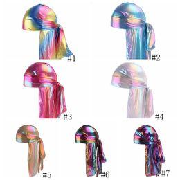 Männer hip hop turban online-Laser-Piraten-Hüte Imitation Silk Long Tail Caps Kopfbedeckung Mode für Männer Frauen Satin Bandana Turbane Perücken Hip Hop Cape Hut GGA2939-1