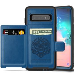 Billetera de protección online-Para iPhone Funda Protección completa A prueba de golpes Defensor Monedero Funda para teléfono Ranura para tarjeta para iPhone xs Max XR 8 Samsung S10 S9 Plus