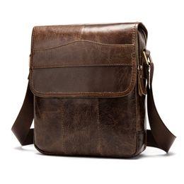 100% cuero genuino hombres bandolera Crossbody bolsos para hombre de alta calidad Bolsas moda Messenger Bag aceite de cera de cuero J50 desde fabricantes