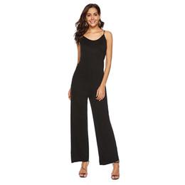 bd866eda46d GAOKE New Spring Autumn Solid High Waist Women Jumpsuits Sexy Deep V Neck  Elastic Waist Wide Leg Cami Jumpsuit Women Clothes