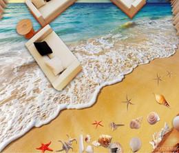 carreaux de sol en vinyle Promotion Custom 3D Floor StickerBeach wave shell 3D carrelage plancher peinture Salle de bains Chambre Vinyle Sol Mural PVC Étanche Papier Peint Peinture Moderne