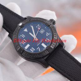Relógio de couro trançado on-line-Alta qualidade vingador relógio automático All Black montre de luxe trançado pulseira de couro 1884 relógios mecânicos mens designer B 47mm V1731010