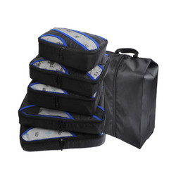 QIUYIN Travel Packing Cubes 5 Set mit Bonus-Schuhbeutel (Grau) (Rot) (Grün) (Violett) Reisetasche Duffle Bags Weekend von Fabrikanten
