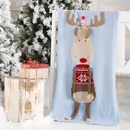 2019 couverture en laine pour bébé 60 * 120cm bébé dormir couvertures Noël Elk Couverture Enfants Fil De Laine Tricoté Couverture De Noël Couverture Tapis De Plage Crochet Swaddling Serviette M323 promotion couverture en laine pour bébé