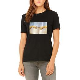 peintures à l'huile de qualité femmes Promotion Peintures à l'huile de haute qualité Création de Adam Michelangelo Imprimer Main Camiseta Mujer Esthétique Harajuku Hipster Femmes T-shirt
