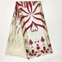 2019 abito da sposa in tessuto netto Tessuti nigeriani fatti a mano del pizzo di alta qualità del tessuto africano nero del pizzo di alta qualità 3D per il vestito da sposa abito da sposa in tessuto netto economici