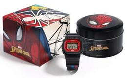 Relojes multipropósito online-Reloj deportivo Capitán América multiuso Marvel Relojes héroe del hombre araña de edición limitada con la CAJA del hombre del hierro de los hombres de goma de la correa del reloj al aire libre