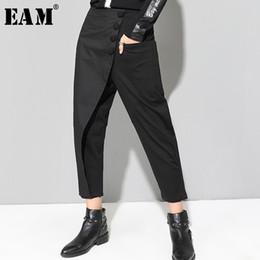 [EAM] 2019 nouveau printemps noir lâche taille haute plat taille élastique femmes mode marée jambe large pantalon longueur cheville OA870 ? partir de fabricateur