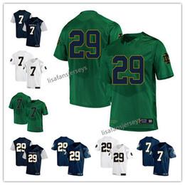 Mens Notre Dame Fighting Irish Jerseys 7 Brandon Wimbush 29 Kevin  Stepherson 2019 Navy White Green USA Flag College Football NCAA Jersey 75ea26096