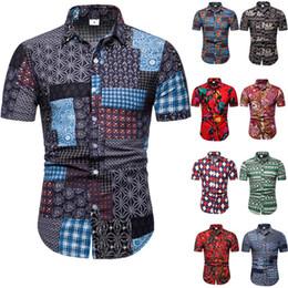 Para hombre camisa de estampado floral masculina floja del verano Tops de manga corta Europa Hombres Festival Ropa Casual Botón Camisas Plus Size 5XL Collar de vuelta hacia abajo desde fabricantes