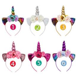 orecchie artificiali Sconti accessori per capelli unicorno bambino ragazze orecchie per gatti fasce fiori artificiali bambini regali di natale forniture festa di compleanno arco arcobaleno C5