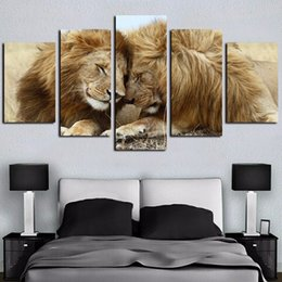 couple cartoon painting Promo Codes - 5Pcs Canvas Wall Art Lions Couple Lovebirds Oil Painting Animal Pictures Art Print on Canvas Wall Art Creative Home Decor