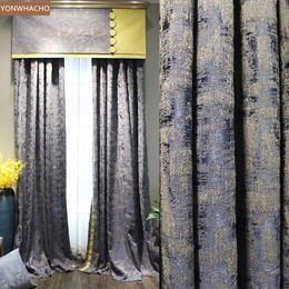 Algodão jacquard janela on-line-cortinas personalizadas algodão jacquard de luxo janela bay chinês tecido de alta qualidade pano azul B545 painel apagão cortina de saia de tule