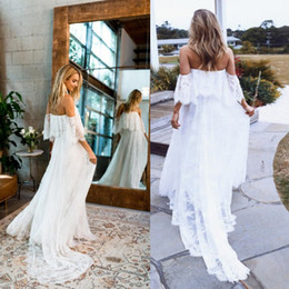2019 kurze reich taille strand brautkleider Sumemr Beach Lace Off the Shoulder rückenfreies Brautkleid 2019 Boho Chic Brautkleider Brautkleider robe de mariage