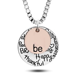 sold gold coins Promo Codes - Hot Sell Rose Gold ;Graffiti Friend Brave Happy Strong Thankfull Charm Pendant Necklaces Coin Round Letter Jewelry Whosale