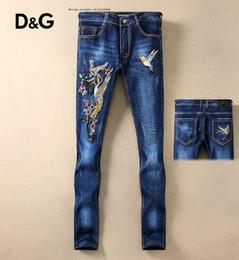 Stazioni usate online-Europa Station Trend Uomo Jeans Retro Do Used Pantaloni da microproiettile Slim colore foro gioventù slim