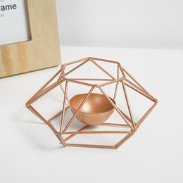 wholesale iron candle holder Promo Codes - Fashion Geometric Iron Candlestick Wall Candle Holder Ornament Sconce Matching Tealight Steel Minimalist wedding Home decor Gift