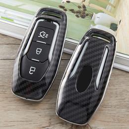 Tampas da chave do mondeo on-line-chave do carro capa para Ford Mustang Foco 2 3 4 foco mk2 mk3 Mondeo Mondeo mk3 mk4 Mustang remoto 3 Botões tampa Shell de fibra sacos de carbono