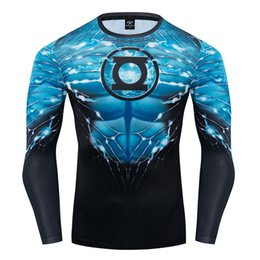 T-shirts lanternes vertes en Ligne-Green Lantern / Spiderman 3D Impression t-shirt Compression Homme Fitness Chemises à manches longues Superhero Hauts fitness T-shirts