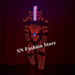 ha condotto i vestiti del robot Sconti P25 Party dance vestito robot led RGB colorato armatura leggera abiti discoteca indossa lo spettacolo di palcoscenico luminoso vestire dj vestito casco eseguire festa indossa