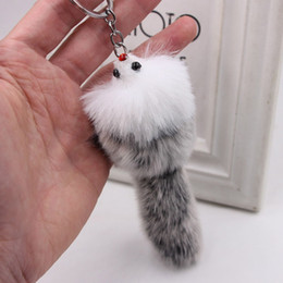 искусственное ювелирное кольцо Скидка New Cute Fluffy Crown Bow-knot  Ball Key Chain Rings Pompom Artificial  Fur Charm Keychain Car Bag Key Ring Women Jewelry