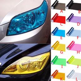 Pegatinas de color de coche online-Hoja de la lámpara del coche película de la linterna del vinilo del color de la película engomada auto humo luz de niebla trasera de la linterna del coche Decoración HHA117