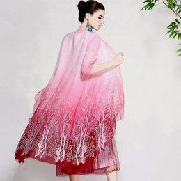 Bordado de seda de organza on-line-Vintage floral real casacos de verão vestido de mulher bordados Windbreaker solta senhora elegante organza de seda casaco feminino M-XL