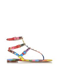 sandálias de casamento confortáveis Desconto ZK sapatos de verão das mulheres sandálias rebites confortáveis apartamentos sandálias sapatos de festa de casamento tamanho grande da UE 34 a 45