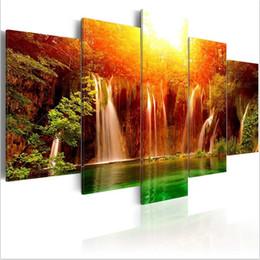 Peinture photo verte en Ligne-(No Frame) 5 PCS / Ensemble Moderne Paysage Green Lake Art Imprimer Sans Cadre Toile Peinture Mur Photo Décoration de La Maison