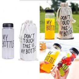 botella de plástico de limón Rebajas Mi botella de 500 ml de plástico Deportes botella de agua Jugo de limón taza de agua al aire libre de bebida con el bolso Pacakge OOA6306-1