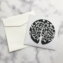pop up easter cards Coupons - 20pcs Exquisite Pearl Paper Invitation Card & White Envelope 3D POP-UP Hollow Out Tree Patterns For Grand Event Easter Supplies