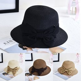 Damen breiter Rand Sun Strohhut Lace Bow Floppy faltbare Sonnenschirm Bucket Cap