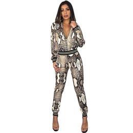 Abrigo de serpiente online-Conjunto de estampado de serpiente pitón pitillo Slim Fit de moda para mujeres europeas y americanas Traje de dos piezas Leggings Body-con Outfit