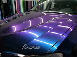 Envoltórios do corpo do auto on-line-1.52 x 20 M Camaleão Brilhante Roxo para Azul Brilho Veículo Auto Full Body Car Etiqueta Wraps de Vinil