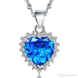 Colar de cristal azul oceano on-line-Coração do coração Colar S925 Silve Clavícula Cadeia Azul De Cristal Coração Pingente Item Jóias Titanic o colar