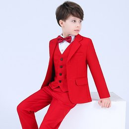 navy blue linen jacket Promo Codes - Hot Red Boys Formal OccasionTuxedos Notch Lapel Two Button Center Vent Kids Wedding Tuxedos Child Suit (Jacket+Pants+Bow Tie+Vest) HY6238