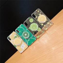 2019 cajas de teléfono de frutas Producto manera 3D caja del teléfono de TPU titular lindo de la fruta de Shell del teléfono suave claro Gillter Fundas para iPhone 7 8plus XR X MAX rebajas cajas de teléfono de frutas