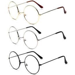 Große rahmenbrillen online-Neuer Mann Frau Retro Große Runde Brille Transparent Metall Brillengestell Schwarz Silber Gold Brillen Brillen 3 Farben