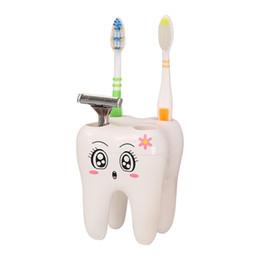 Cepillo de dientes de plastico online-Soporte para cepillo de dientes de 4 agujeros de plástico gato de dibujos animados cepillo de dientes Soporte de almacenamiento Mini estante Suministros de aseo 5 8ly E1