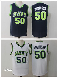 white navy uniforms Promo Codes - David Robinson Jersey 50 College Men Naval Academy Navy Midshipmen Jersey Basketball Uniform University Breathable Team Color White Blue