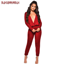 52d3d31cd3db RAISEVERN Jumpsuit Women 2019 Autumn Spring Solid Elegant Deep V Neck  Rompers Overalls Sexy Bodysuit Casual OL Club Party Wine