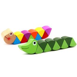 strumenti bambini Sconti Giocattoli di legno colorati Carino design a forma di vite senza fine curvato Giocattolo magico Multi cambiamento di strumenti educativi Caterpillar forma bambini Puzzle regali C22