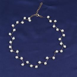 корейские чокеры Скидка Trendy Elegance Statement Necklace Charm Simulated Pearl  Choker Necklace For Women Korean Femme Collar Neckband