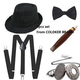 2019 brincos estilo vintage boêmio verde 1920 Mens Gatsby Gangster traje conjunto de acessórios 30s Manhattan Hat Fedora Suspensórios
